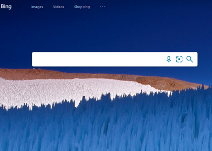 Front page of Bing search engine