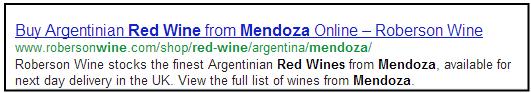 Meta description SEO best practices mendoza red wine